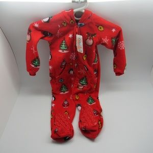 Footed Pajamas Toddler Size Med Christmas Red New